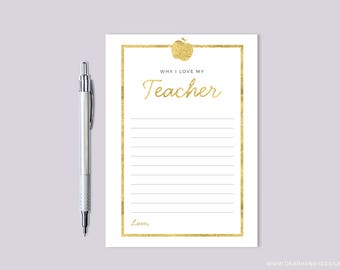Why I Love My Teacher Appreciation Blank Thank You Card, Faux Gold Foil Printable Teacher Note Card, Retirement Party, School, Apple