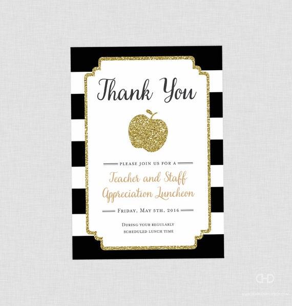 Teacher Appreciation Invitation Apple Printable Teacher Etsy