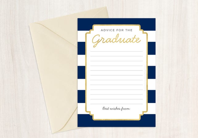 Faux Gold Foil & Navy Advice Card for Graduate, Printable Instant Download, High School College Graduation, Blue Stripes, Class of 2018 Him