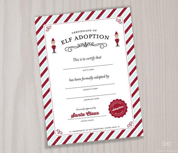 image 0 - Elf Adoption Certificate Template