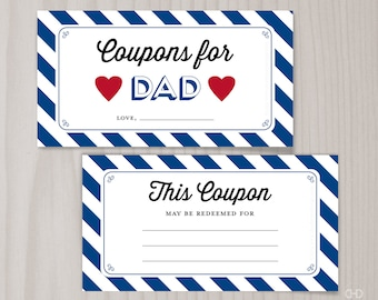 Father's Day Coupons for Dad Blank Printable Coupons, Blank Coupon Book, Last Minute Present, Coupons for Daddy from Kids, Birthday
