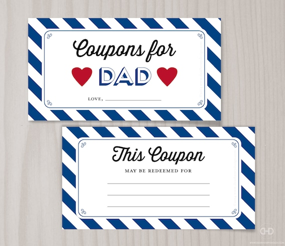 Father S Day Coupons For Dad Blank Printable Coupons Etsy