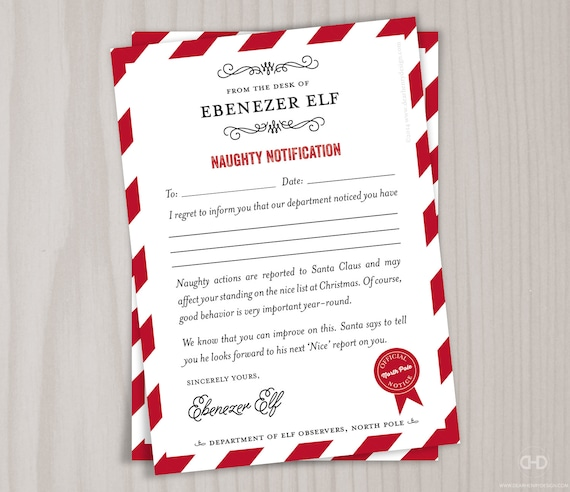 Naughty list note from the north pole santas elves etsy image 0 spiritdancerdesigns Gallery