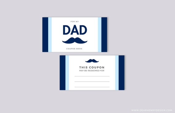 Father S Day Coupon Book Mustache Blank Printable Etsy