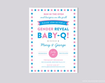 BabyQ Gender Reveal Invitation, 4th of July BBQ, Pink and Blue Invite, Backyard Summer Bun in the Oven, Burgers on the Grill, Couples Shower