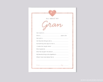 Printable All About My Gran Instant Download, Mother's Day Questionnaire, Grandparent's Day Gift,  Pink Blank card Grandkids & kids