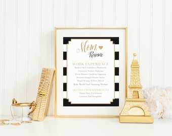 Last Minute Mother's Day Printable, Mom Resume Wall Art Gift, Mom's Birthday Present, Typography Instant Download, Black and Gold Stripes