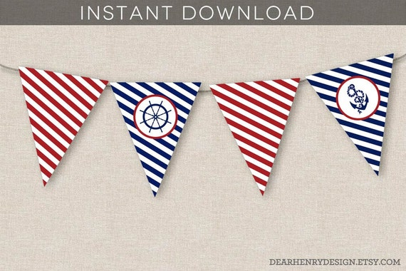Nautical Banner Instant Download Printable Nautical Birthday Etsy