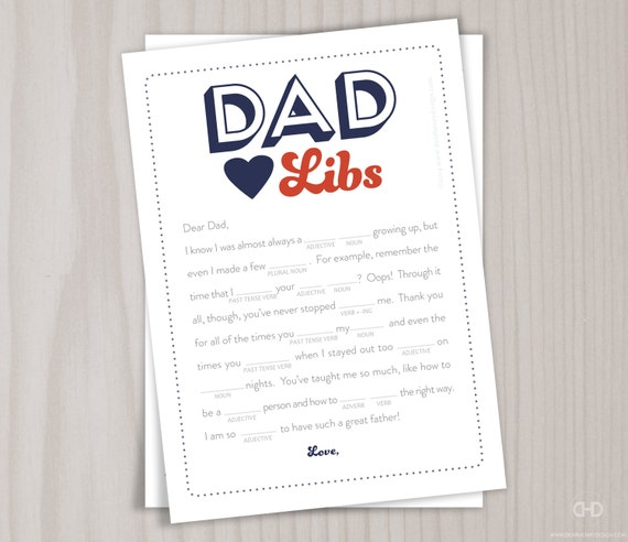 Fathers Day Dad Libs Card, Birthday Card for Daddy, INSTANT DOWNLOAD ad  libs - ad libs card for father, dad, Red Blue Dots, Happy Father's