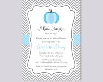 Boy Blue Little Pumpkin on His Way, Pumpkin Baby Shower Invitation, Fall Baby Shower Invite, Halloween Shower, Thanksgiving, Couples Shower