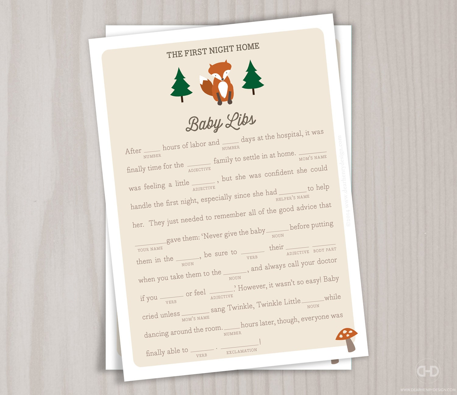 Woodland Fox Baby Shower Game, Baby Libs Card, Ad Lib Woodland Owl, Instant  Download Fall Baby Shower, Woods Forest Animal Ad Libs Games