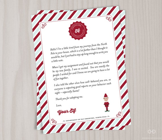 Elf Welcome Letter Christmas Introduction Note Intro Letter Etsy