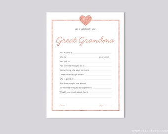 Printable All About My Great Grandma Instant Download, Mother's Day Questionnaire, Grandparent's Day Gift,  Pink Blank card Grandkids & kids
