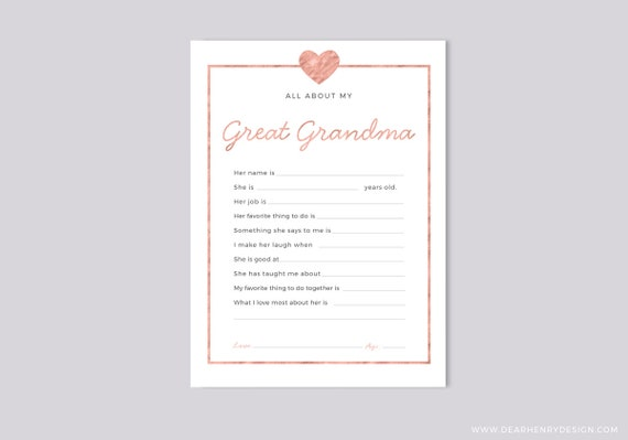 picture about All About Grandma Printable referred to as Printable All Pertaining to My Superior Grandma Instantaneous Obtain, Moms Working day Questionnaire, Grandparents Working day Present, Purple Blank card Grandkids youngsters