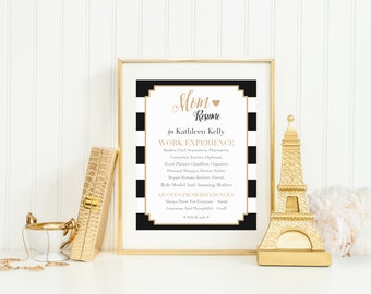 Personalized Mother's Day Printable, Unique Last Minute Mom Resume Wall Art Gift, Mom's Birthday Present, Typography, Black and Gold Stripes