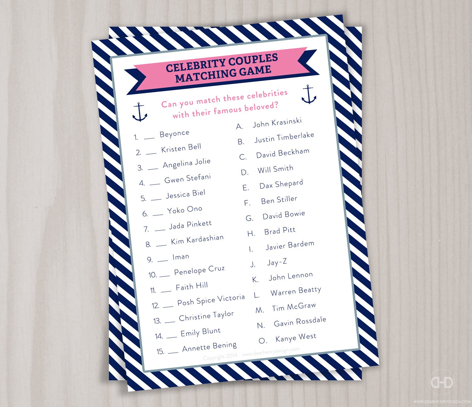 Famous Couples Bridal Shower Game Matching Celebrity Couple | Etsy