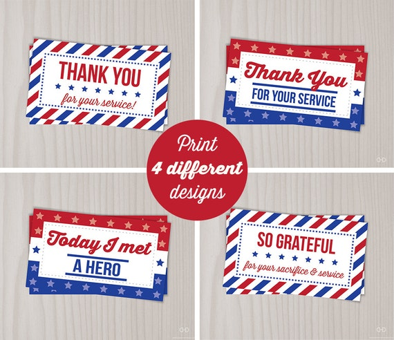 Instant Download Veterans Day Thank You Cards Military Thank Etsy