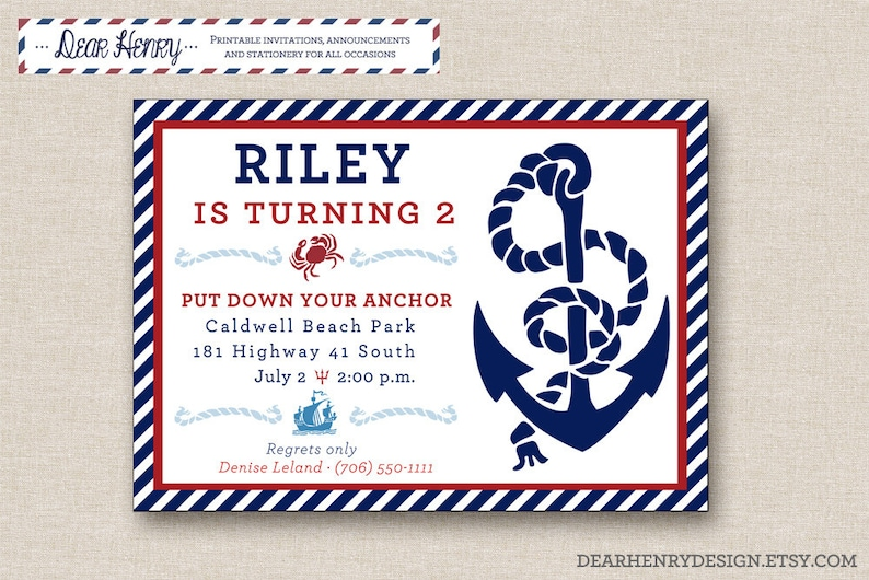 Nautical Birthday Invitation PRINTABLE Invite With Anchor
