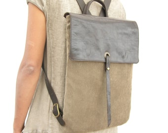 """Canvas Laptop Backpack, 15"""" Leather and Canvas Laptop Backpack, Canvas Rucksack, Brown Leather Backpack, Brown Canvas Backpack, Womens Gift"""