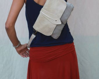 Cross body Leather and Canvas Hip Bag - Fanny Pack - Traveler Bag - Utility Hip Belt - Hip Pouch-Christmas gift idea