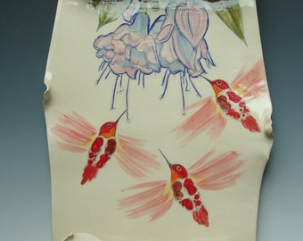 Hummingbirds Porcelain Scroll
