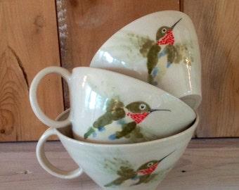 Hand painted Hummingbird Handled Bowls Cappucino Mugs