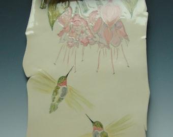 Pastel Hummingbirds Porcelain Scroll