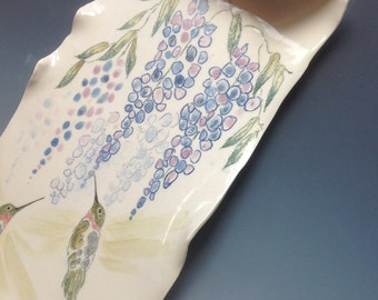 Wisteria and Hummingbirds Porcelain Scroll