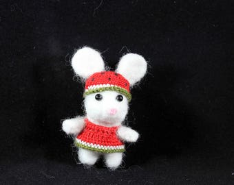 watermelon mouse needle felted