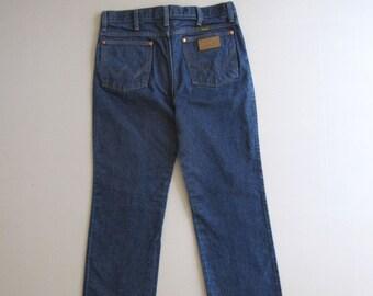 Vtg 90s Dark Blue Indigo Wrangler Jeans 936 Denim 32x32 Slim Fit 31x31