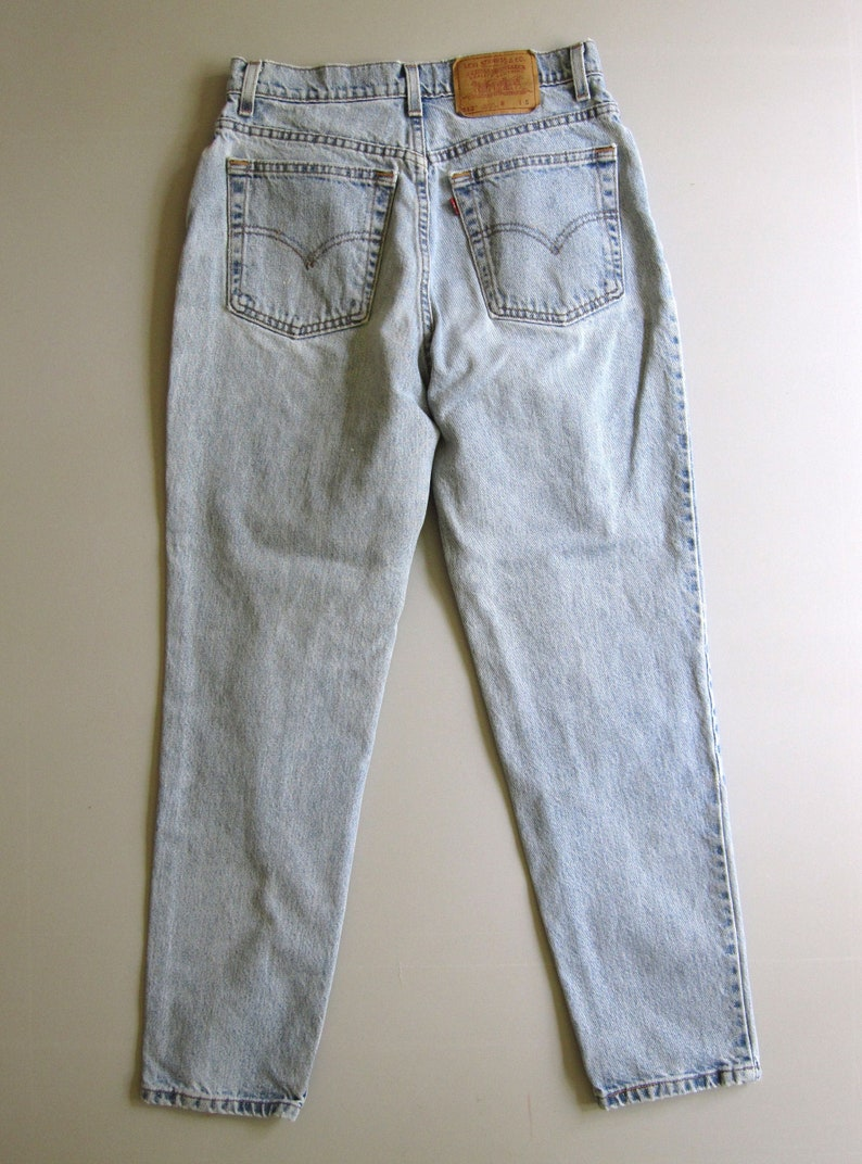 Vintage 90s Levi's 512 High Waisted Slim Fit Mom Jeans Tapered Blue 11 Denim 28