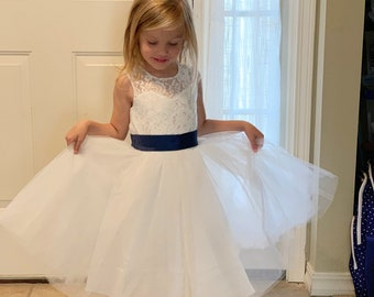 f7f8bfbbcf83 Light Ivory Flower Girl Dress Navy Baby Girls Dress Lace Tulle Flower Girl  Dress With Navy Sash/Bows Sleeveless