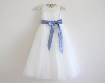 2113ac178d Light Ivory Flower Girl Dress Blue Baby Girl Dress Lace Tulle Ivory Flower  Girl Dress With Mineral Blue Sash Bows Sleeveless