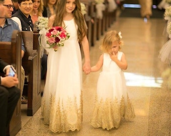 2ee0928b8 Light Ivory Flower Girl Dress with Gold Embroidery Straps Ivory Sleeveless  Baby Girl Dress Gold Embroidery Flower Girl Dress Floor-length