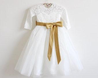 Long Sleeves Flower Girl Dress, Light Ivory Flower Girl Dress, Lace Flower Girl Dress, Gold Flower Girl Dress, Gold Sash/Bows, Floor Length
