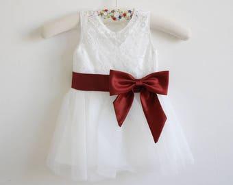 Light Ivory Lace Flower Girl Dress Bordeaux Baby Girls Dress Lace Tulle Flower Girl Dress With Bordeaux Sash/Bows Sleeveless