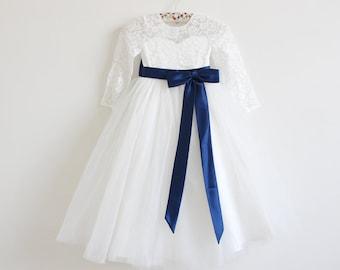 Light Ivory Long Sleeves Flower Girl Dress Ivory Baby Girls Dress Lace Tulle Flower Girl Dress With Navy Sash/Bows Floor-length