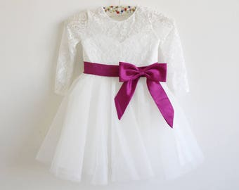 6a03d16c23a Long Sleeves Light Ivory Flower Girl Dress Plum Sash Bows Lace Tulle Flower  Girl Dress With Plum Sash Bows