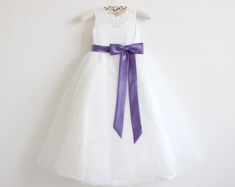 d9f65fe23 Light Ivory Flower Girl Dress Purple Baby Girls Dress Lace Tulle Flower  Girl Dress With Purple Sash/Bows Floor-length