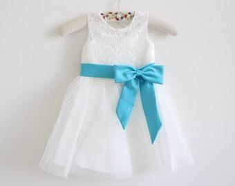 Light Ivory Lace Flower Girl Dress Baby Girl Dress Lace Tulle Light Ivory Flower Girl Dress With Blue Sash/Bows