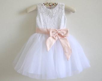 White Lace Flower Girl Dress Blush Pink Baby Girls Dress Lace Tulle White Flower Girl Dress With Blush Pink Sash/Bows Sleeveless