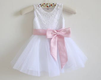 5c044fbf5a White Lace Flower Girl Dress Pink Baby Girls Dress Lace Tulle White Flower  Girl Dress With Pink Sash Bows Sleeveless Floor-length