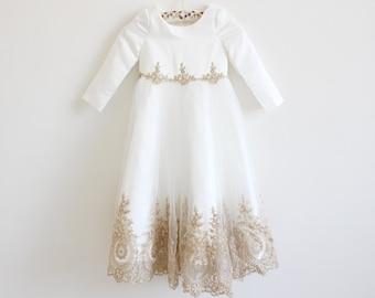 Light Ivory Flower Girl Dress, Long Sleeve Flower Girl Dress, Gold Embroidery Wedding Dress, Baby Girl Dress, Flower Girl Dress Long Sleeve