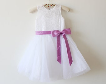 Purple flower girl dress etsy white lace flower girl dress purple ribbon baby girls dress tulle white flower girl dress with mightylinksfo Gallery