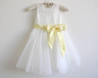 Light Ivory Flower Girl Dress Baby Girl Dress Light Ivory Lace Tulle Flower Girl Dress With Light Yellow Sash/Bows Floor-length