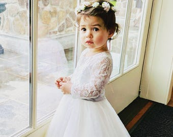 0733626e9d Long Sleeves Light Ivory Flower Girl Dress Lace Tulle Flower Girl Dress  With Sash/Bows Floor-length