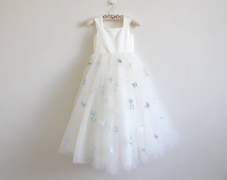 efd45f78456 Light Ivory Flower Girl Dress with Butterfly Tulle Ivory