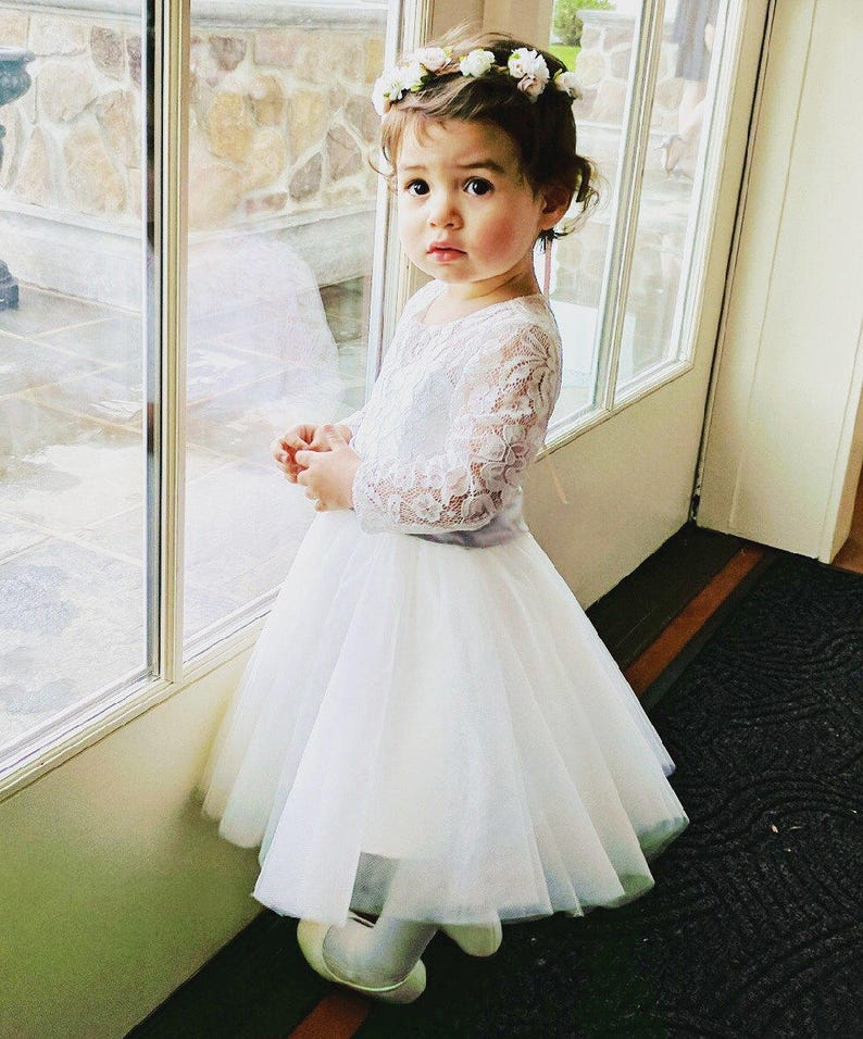 790bc500303 Long Sleeves Light Ivory Flower Girl Dress Lace Tulle Flower