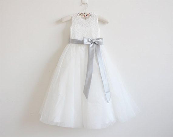 Light ivory flower girl dress silver baby girls dress lace etsy image 0 mightylinksfo