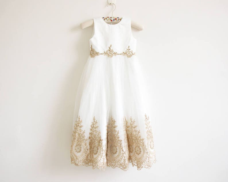 5c55cd44c86 Light Ivory Flower Girl Dress with Gold Embroidery Floor